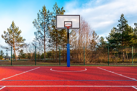 empty basketball court found in the