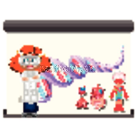 scientist with dna diagram and human