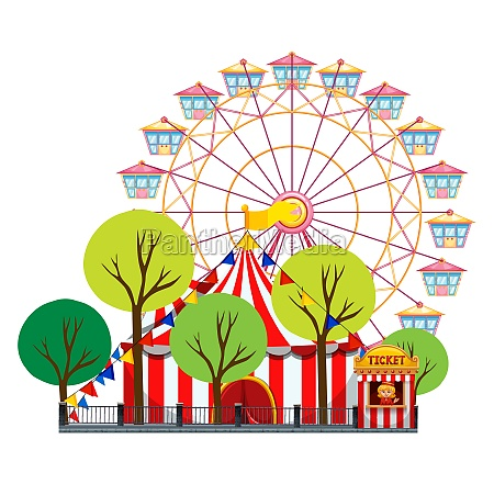 circus scene with tent and ferris