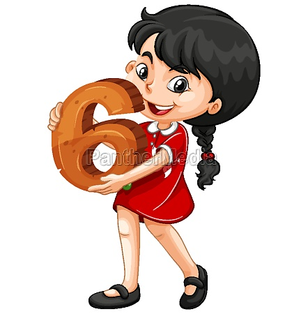 asian girl holding math number six