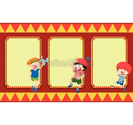 blank banners with circus children