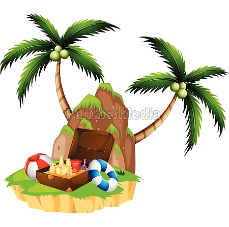 island with two coconut trees and