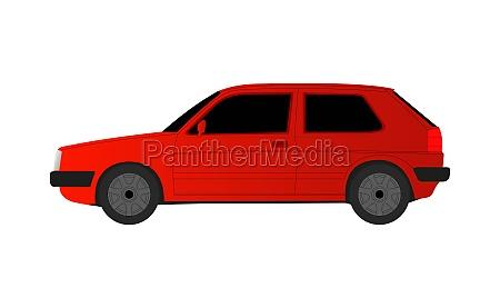 red golf sedan car on white