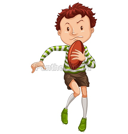 athlete playing rugby on white background