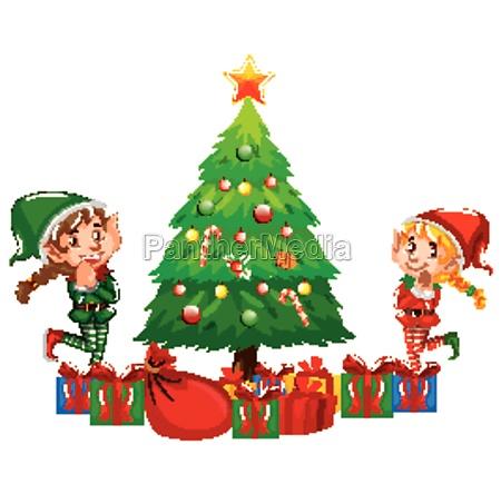two christmas elves and christmas tree