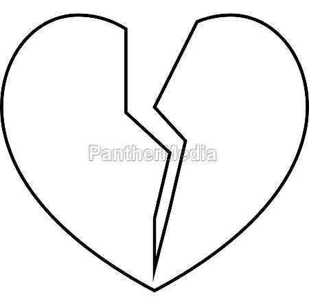 broken heart icon outline style