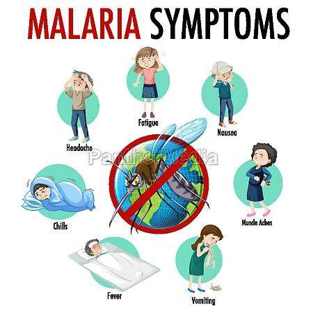 malaria symptom information infographic