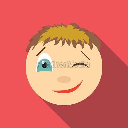 winking icon flat style