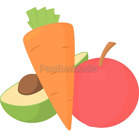 vegetables and fruits icon cartoon style