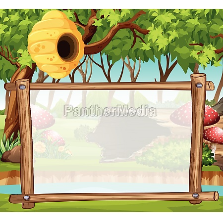 border template with forest in background