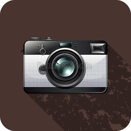 retro vintage camera on tile