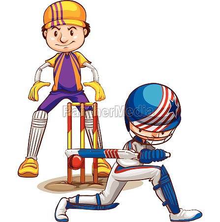 two cricket players playing on white