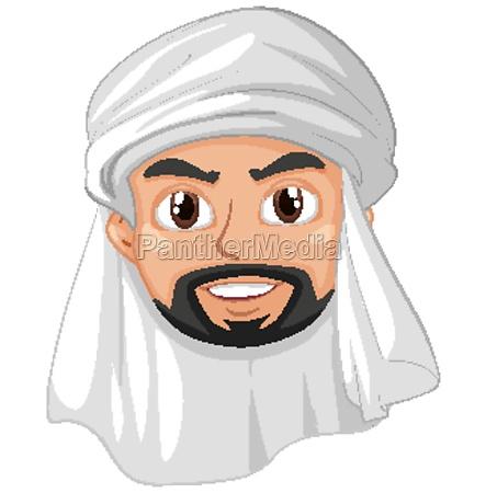 adult man arab muslim head cartoon