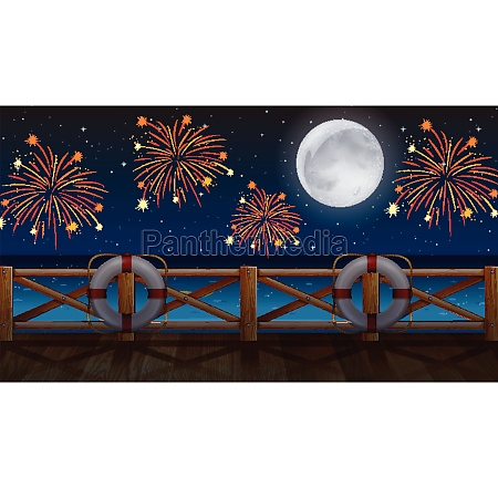 ocean view with with celebration fireworks