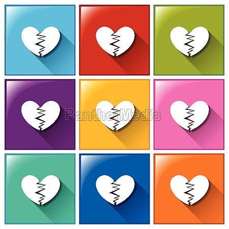 broken heart buttons