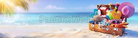 beach sand suitcase tropical leisure luggage