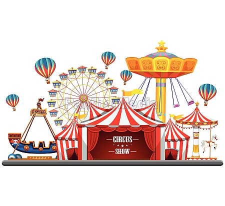 circus event with tents ferris wheel