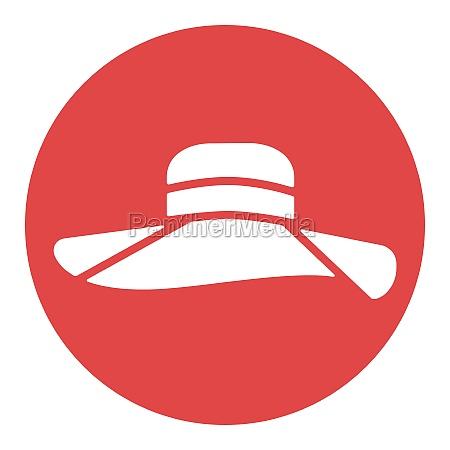 woman summer hat vector white glyph