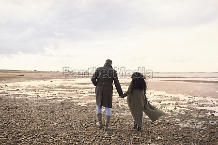 couple in winter coats holding hands
