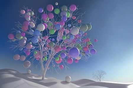 digitally generated image multicolor balls growing