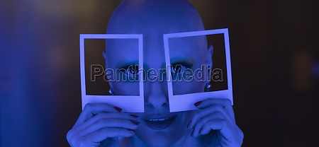 bizarre portrait woman with shaved head
