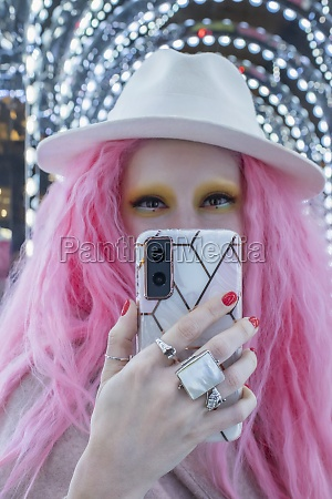 portrait cool stylish woman with pink