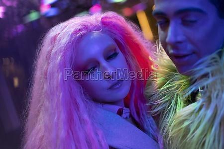 stylish young couple in nightclub