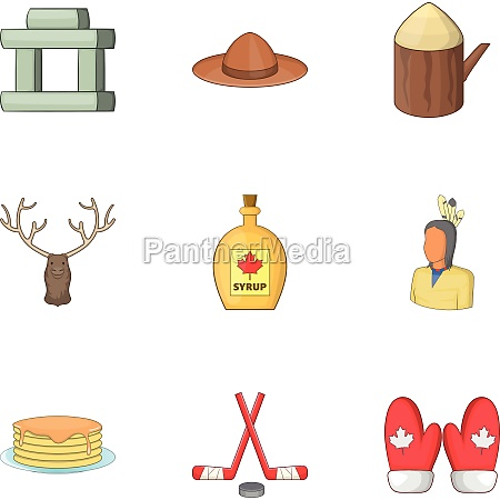 canadian symbols icons set cartoon style