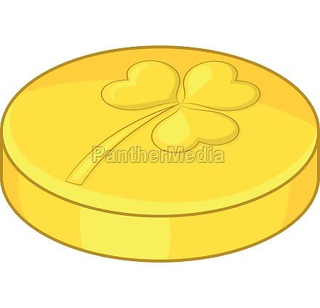 golden coin icon cartoon style