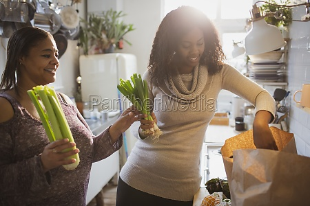 mother and daughter unloading groceries in