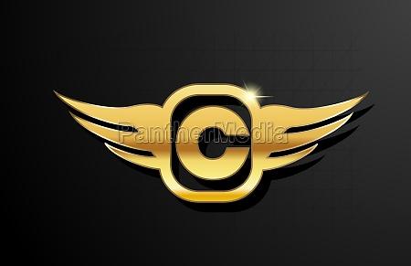 c gold letter logo alphabet for