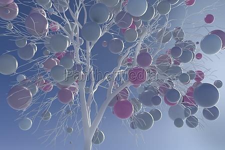 digitally generated image pastel balls growing