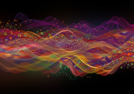 abstract multicolor wave pattern on black