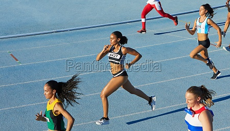 female track and field athletes running