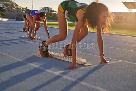female track and field athletes at