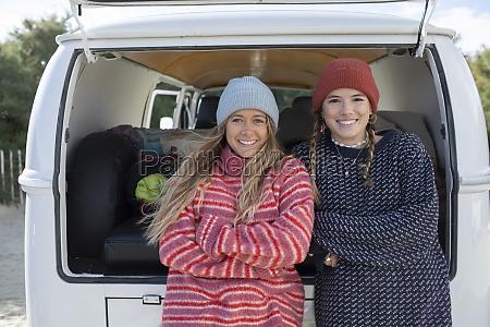 portrait happy young women friends in