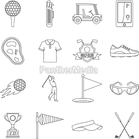 golf items icons set outline style