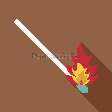 burning match icon flat style