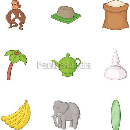 travel to sri lanka icons set
