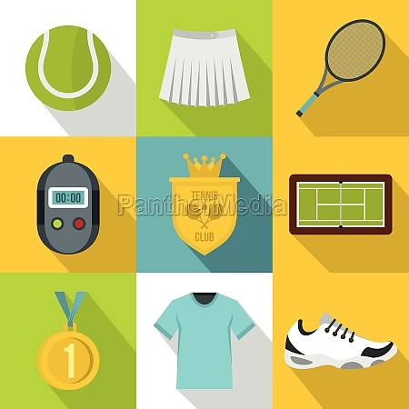 active tennis icons set flat style