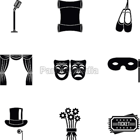 theatrical performance icons set simple style