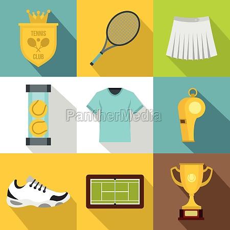 tennis icons set flat style
