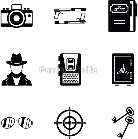 scout icons set simple style