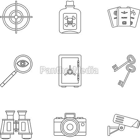 secret agent icons set outline style