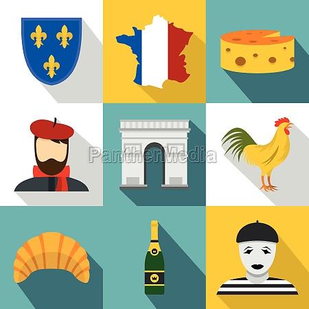 france icons set flat style