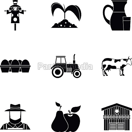 ranch icons set simple style