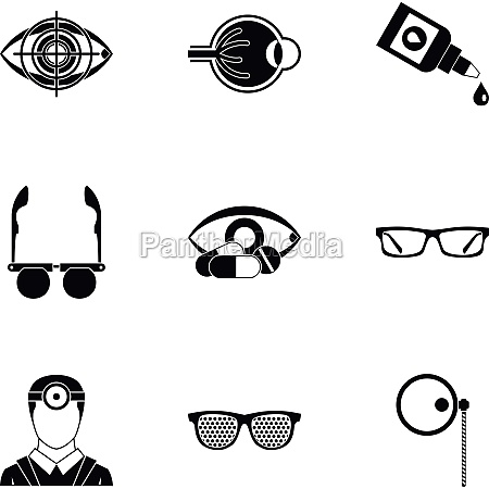 ophthalmology icons set simple style