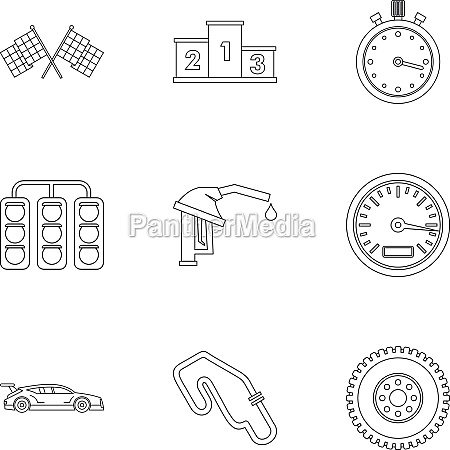 race icons set outline style