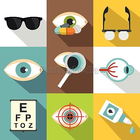 ophthalmology icons set flat style