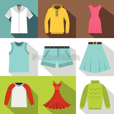 types of clothes icons set flat